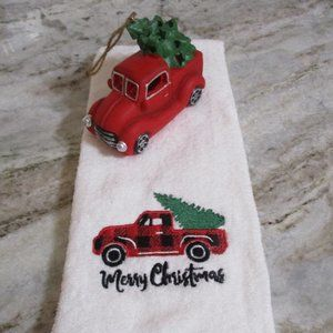 Red Pickup Truck Christmas Tree Towel & Ornament